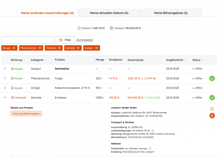 Eine Beispielansicht über das Dashboard der Web Applikation