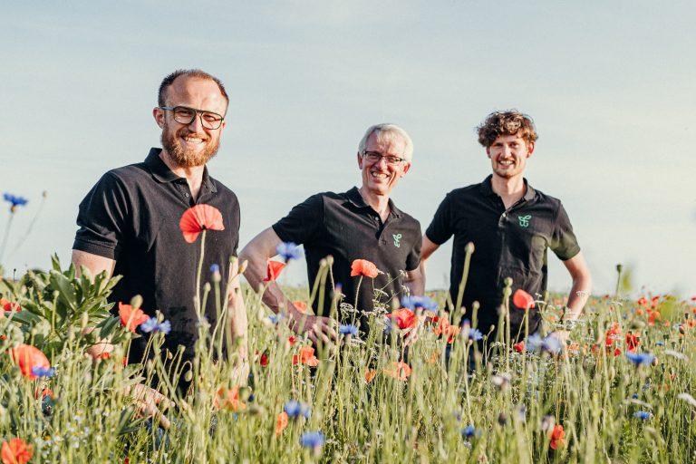Drei Mitarbeiter von Feldwerk stehen auf einer Wiese mit Blumen.